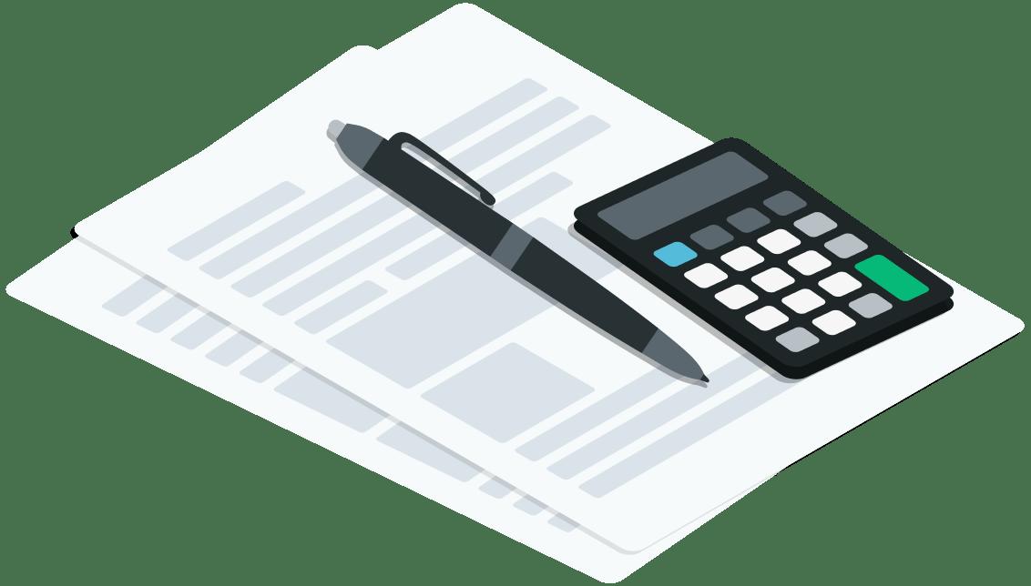 Notizblock mit Stift und Taschenrechner