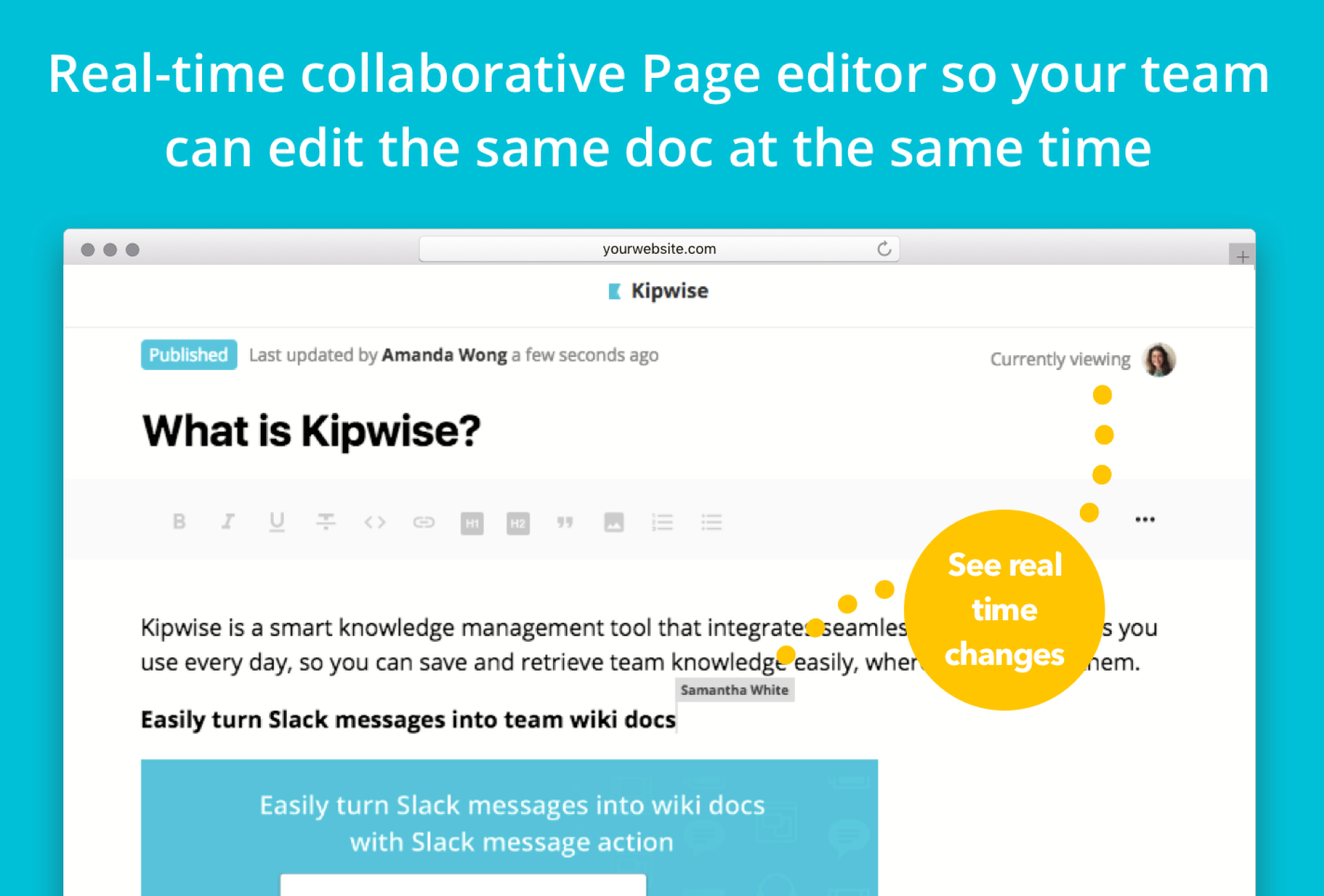 Real-Time Collaborative Editor for Team Knowledge