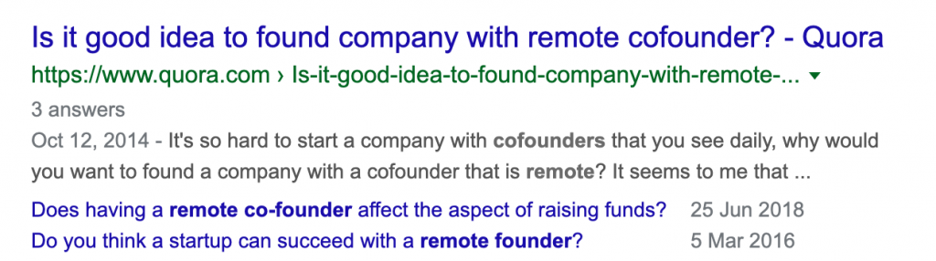 remote co-founders google search results