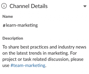 Slack channel organization: use channel description