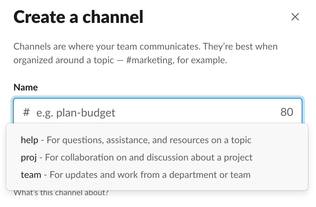 Slack best practices - set channel prefix guidelines