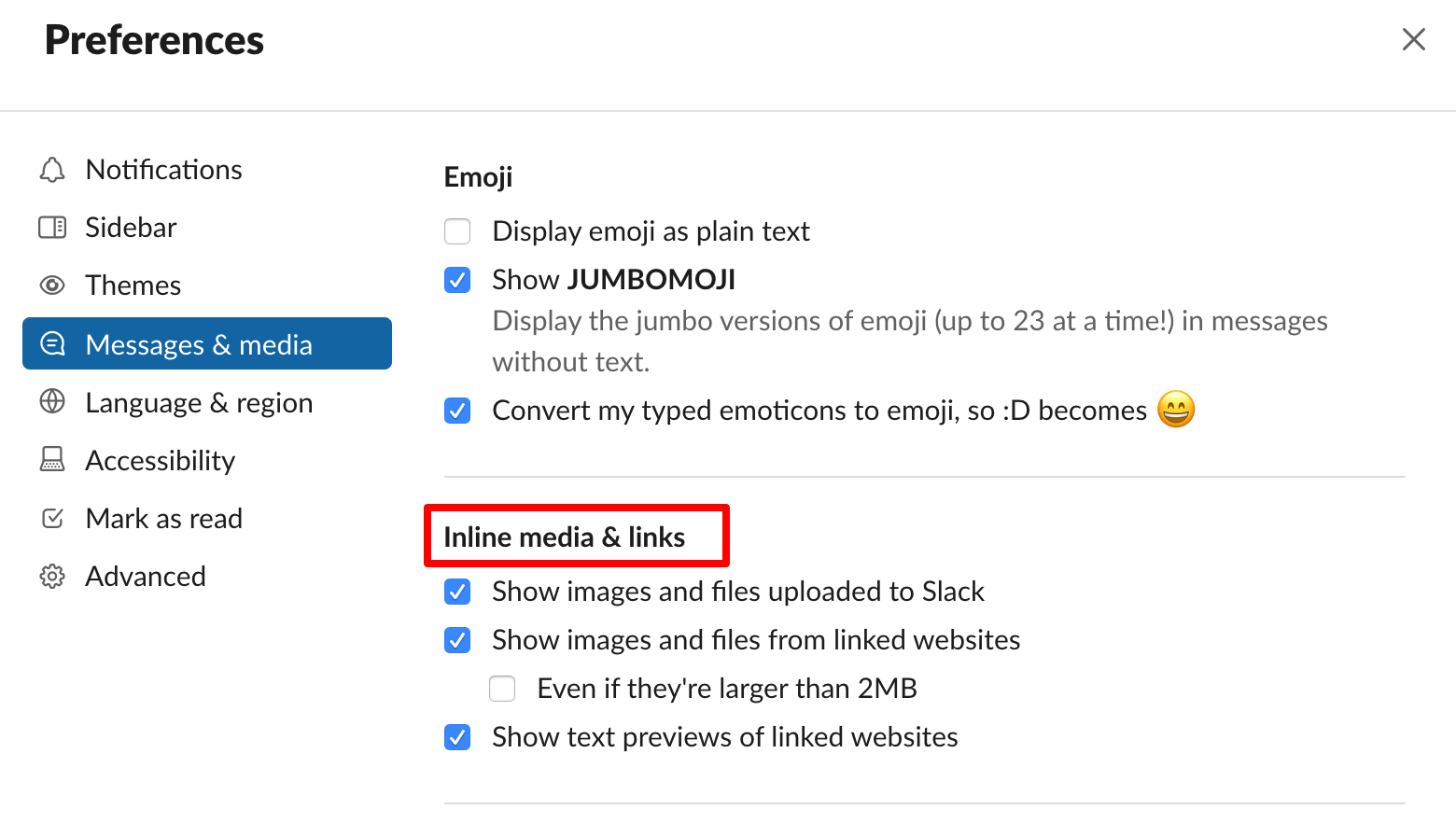Slack features you might not know - hide all inline image previews