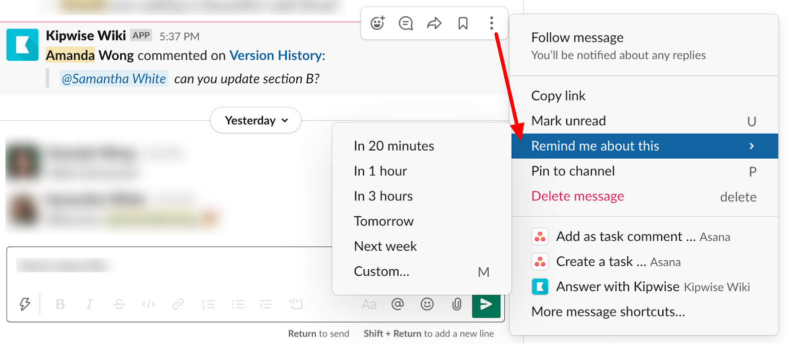 How to use Slack - remind yourself about a message