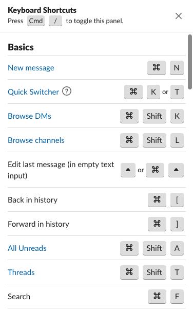 Slack command - keyboard shortcut