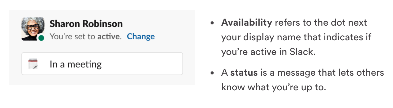 Slack - set availability or status