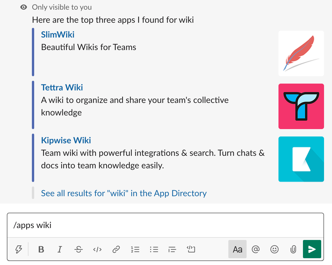 Slack Slash command - Search apps on Slack App Direcotry