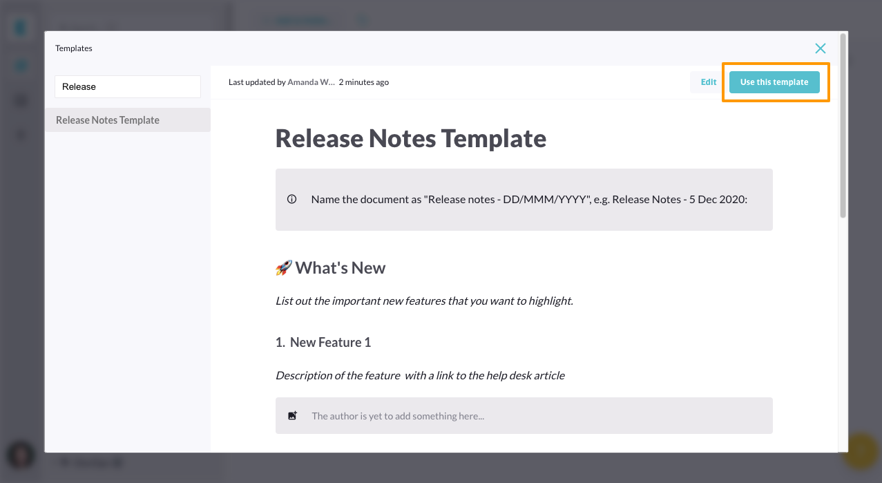 Product release notes template