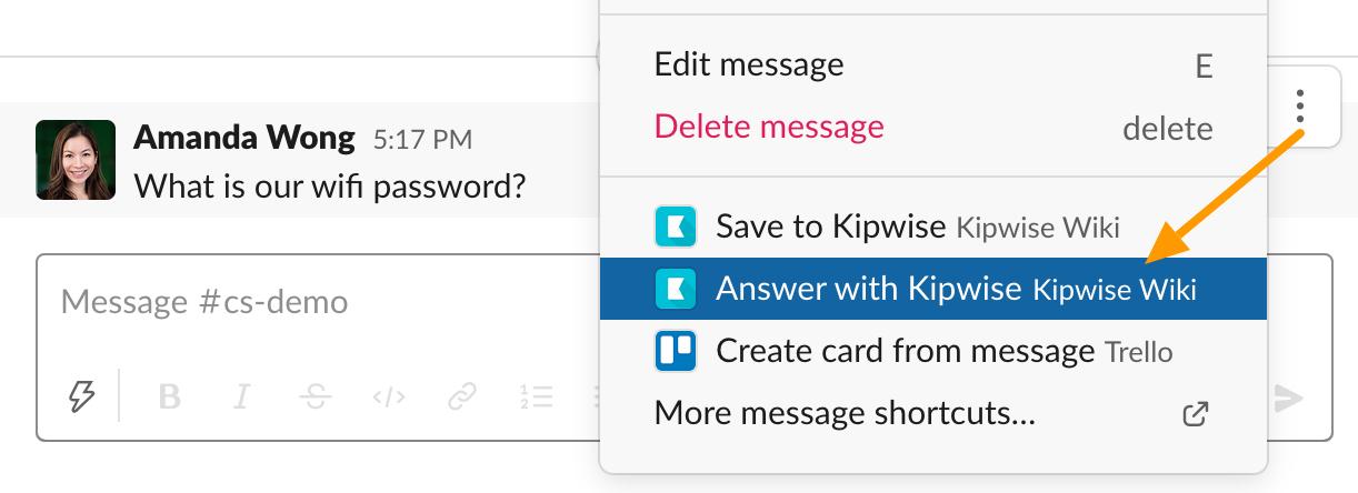 Slack shortcut - Answer with Kipwise