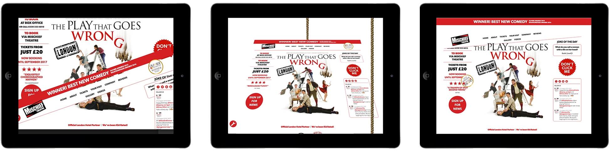 Mischief Theatre's Play That Goes Wrong website on Apple ipad