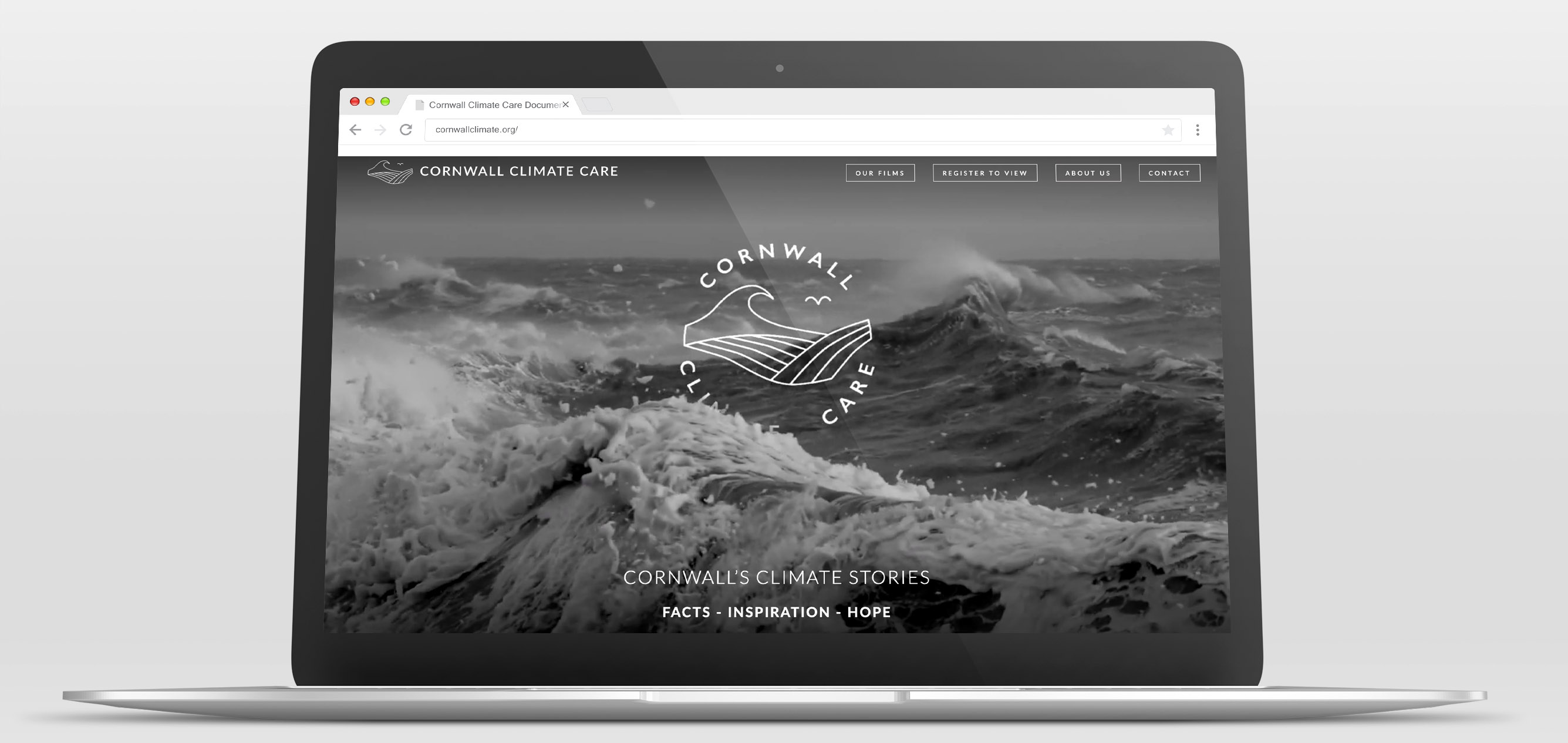 Cornwall Climate Care website on various Apple laptop