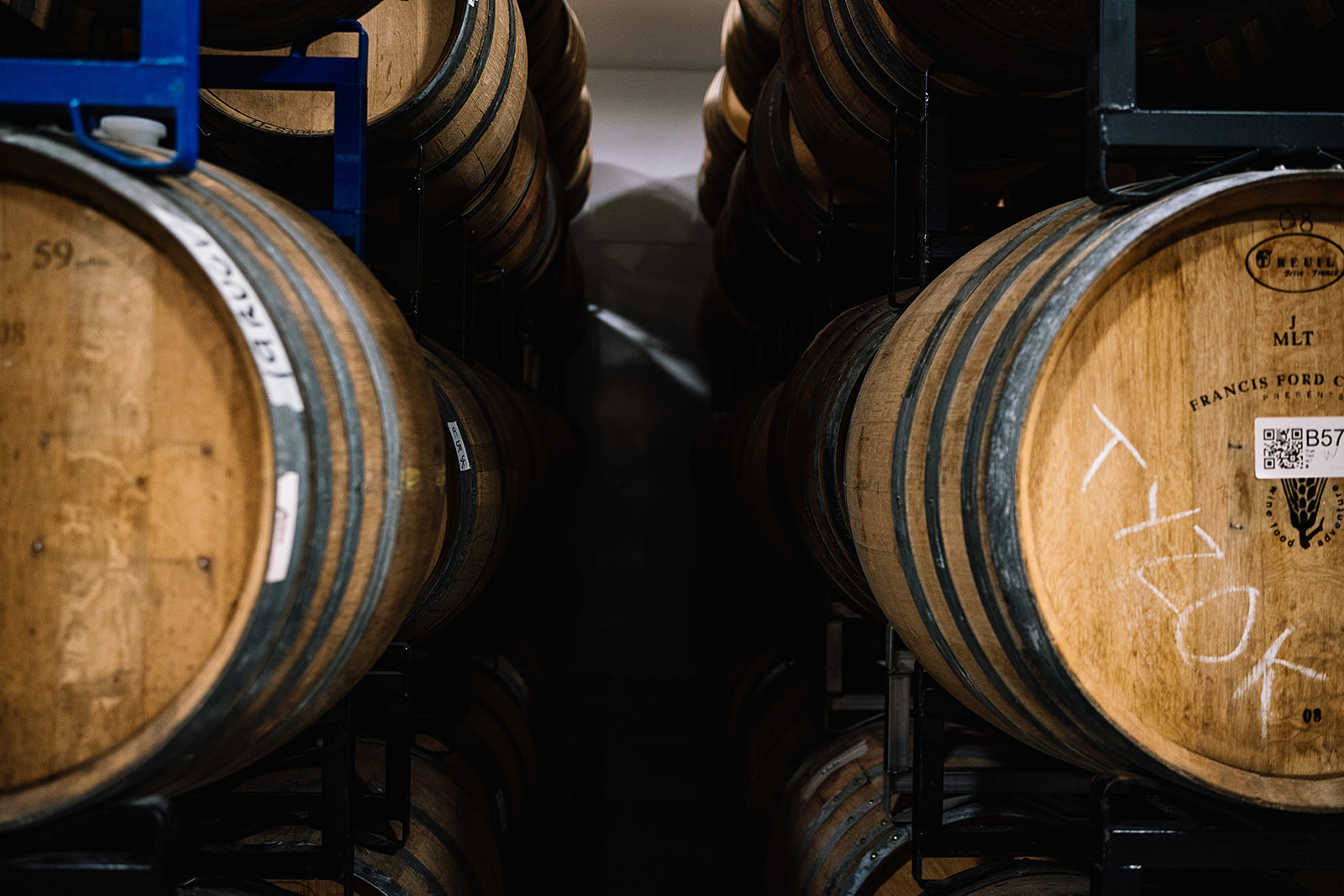 Carboy Winery wooden wine kegs.