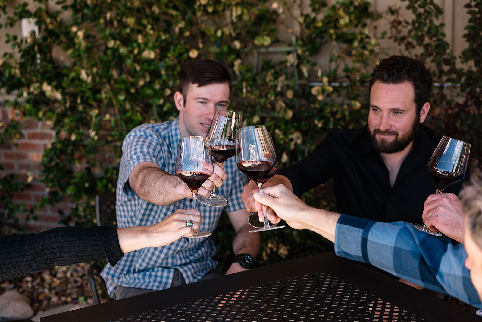 People sitting at a table outside cheers each other with glasses of red wine.