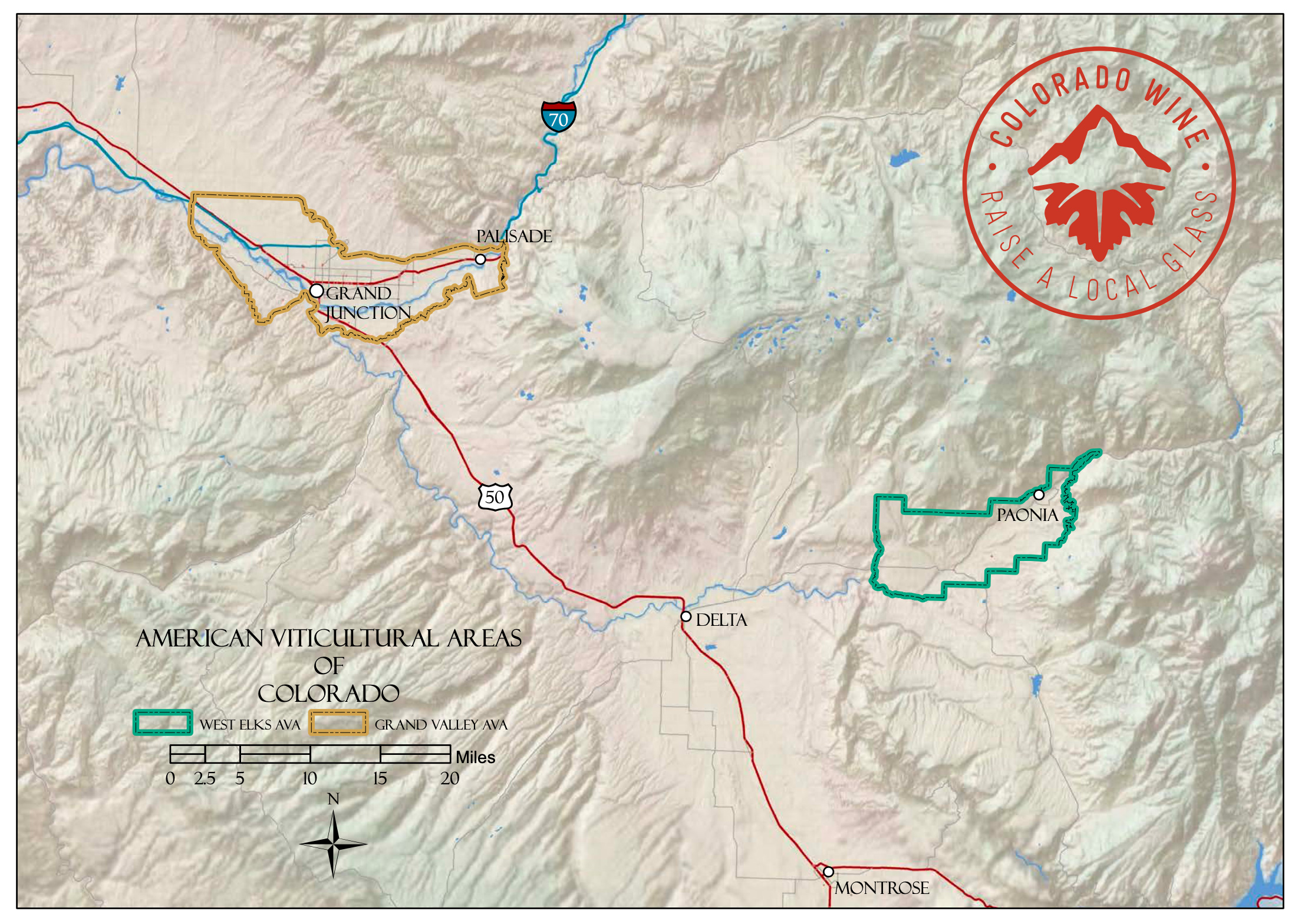 Map of Colorado wine regions.