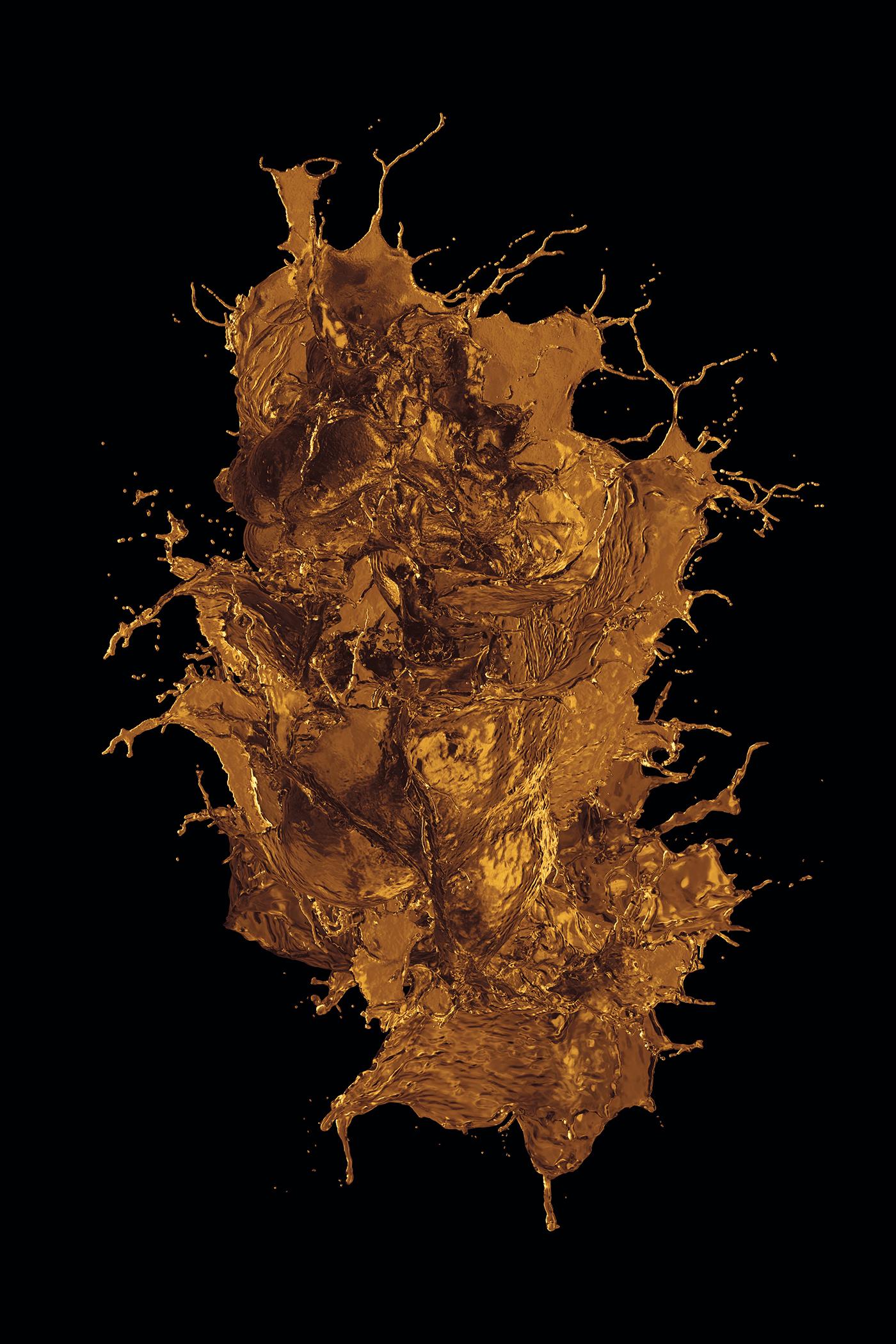 Liquid gold spilled on a black background.