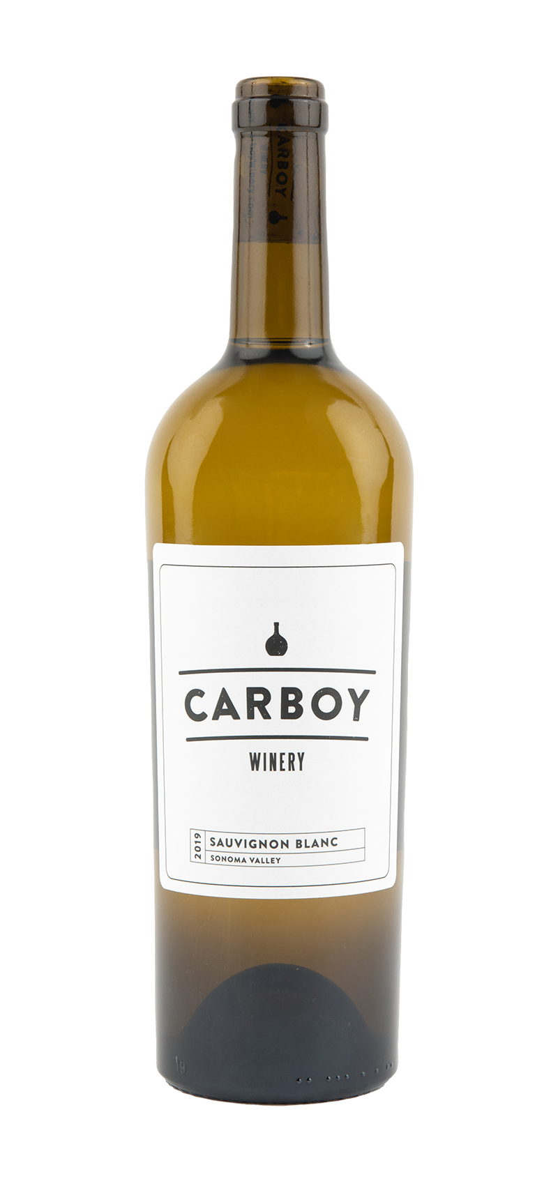 Bottle of Carboy Winery's Sauvignon Blanc wine.