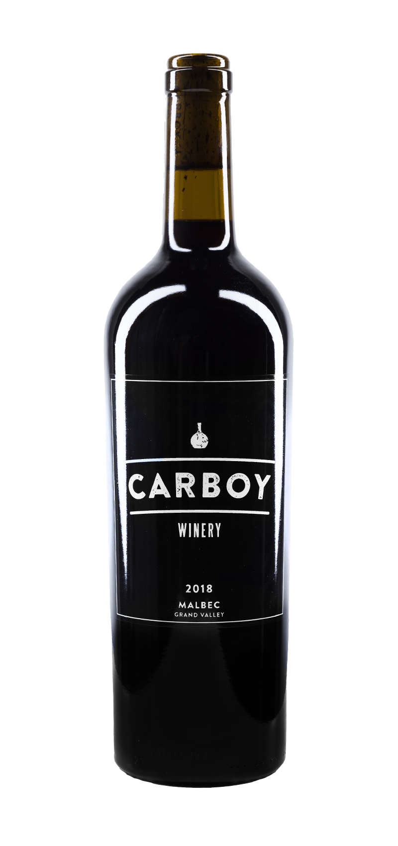 Bottle of Carboy Winery's Malbec wine.