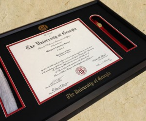 One of our hand-crafted UGA diploma frame with tassel holder