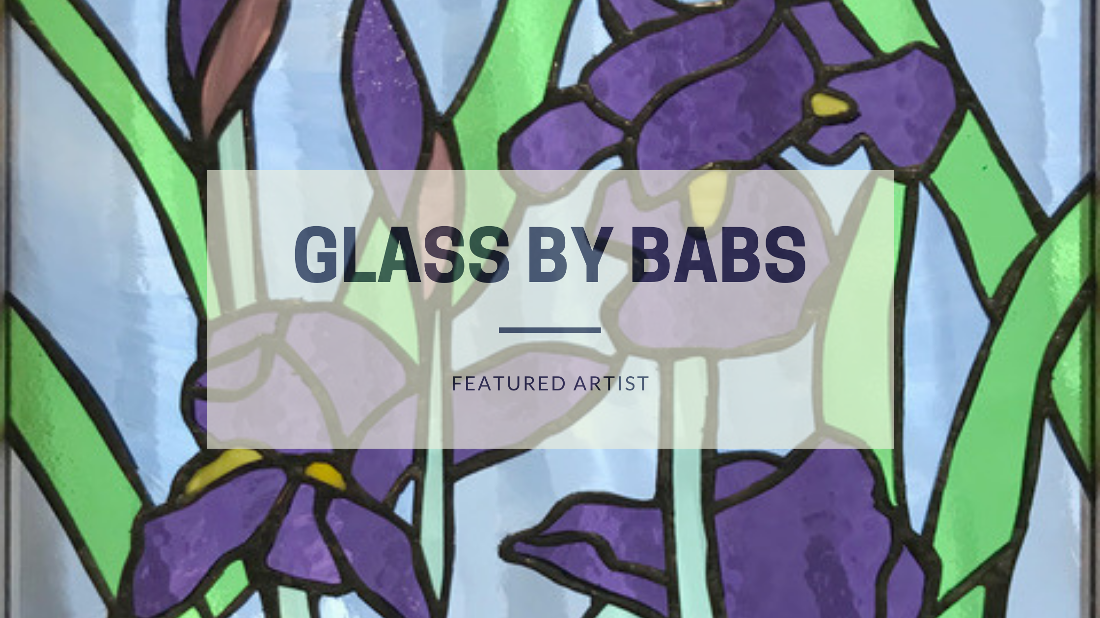 stained glass purple iris flower art
