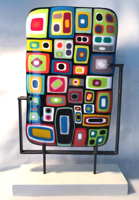 abstract colorful color block glass sculpture
