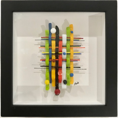 colorful woven abstract glass art