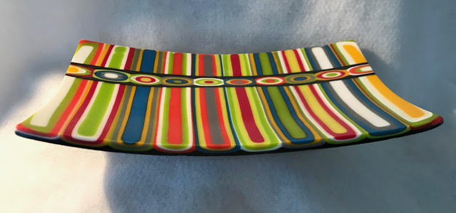 fused glass abstract colorful art platter