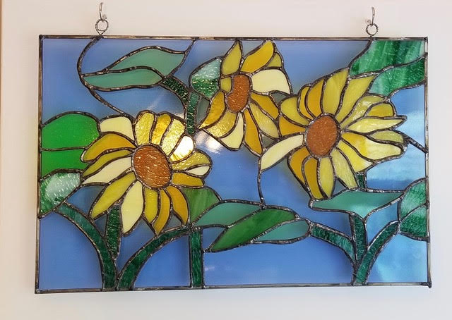stained glass sunflower art