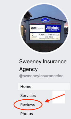 Screenshot showing where to leave a Facebook review for Sweeney Insurance of Kodiak