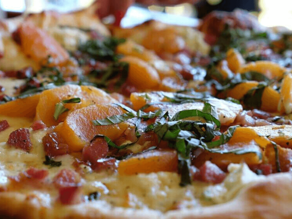 Roasted Peach & Caramelized Pancetta