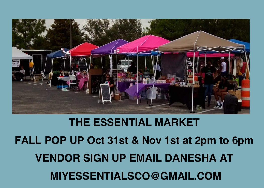 tents set up in the parking for the essential market at Almeda Mall