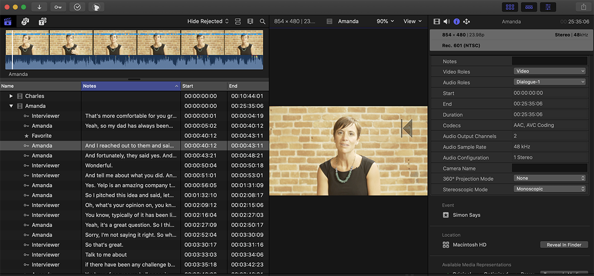 How to receive transcript ranges in Final Cut Pro X (FCPX)