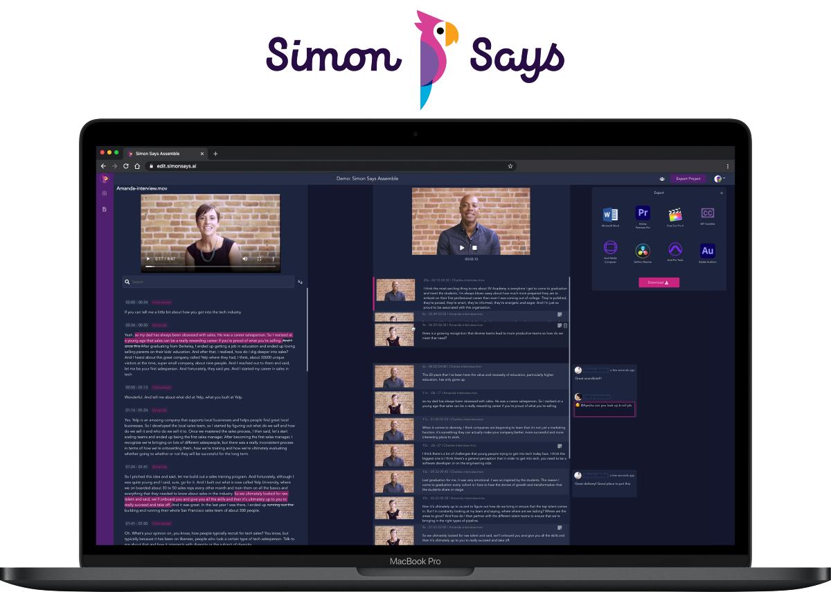 Simon Says Assemble, text-based video editing