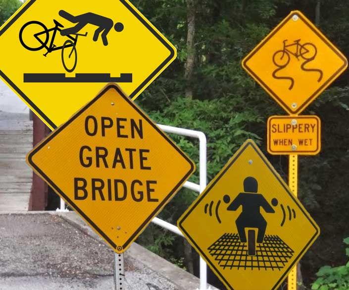 Metal Grating Bicycle Signs