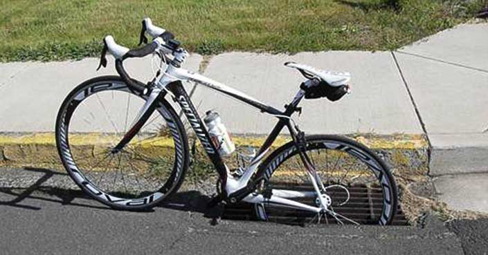 Bicycle in Sewer Grate