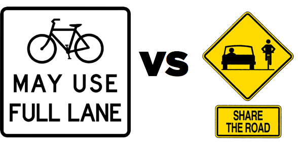 Bicycles May Use Full Lane Sign Improves Safety