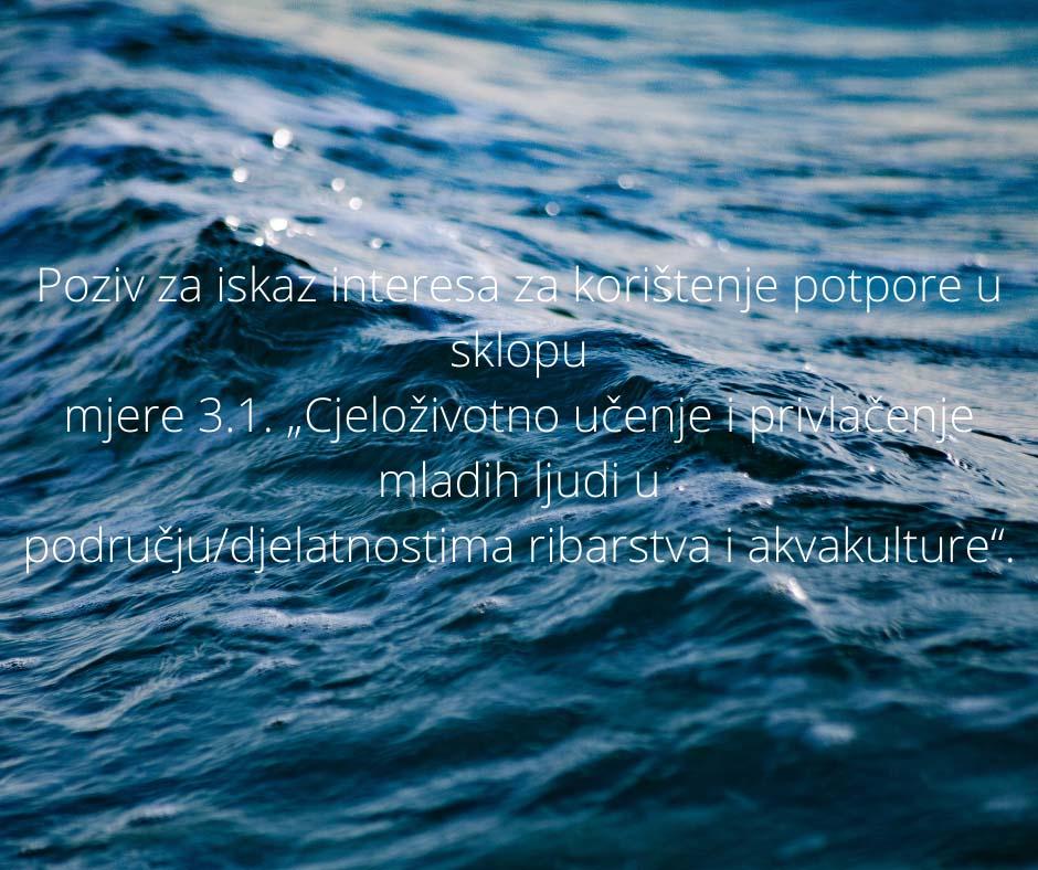 """Poziv za iskaz interesa za korištenje potpore u sklopu mjere 3.1. """"Cjeloživotno učenje i privlačenje mladih ljudi u području/djelatnostima ribarstva i akvakulture""""."""