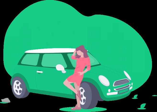 woman leaning on green mini cooper car