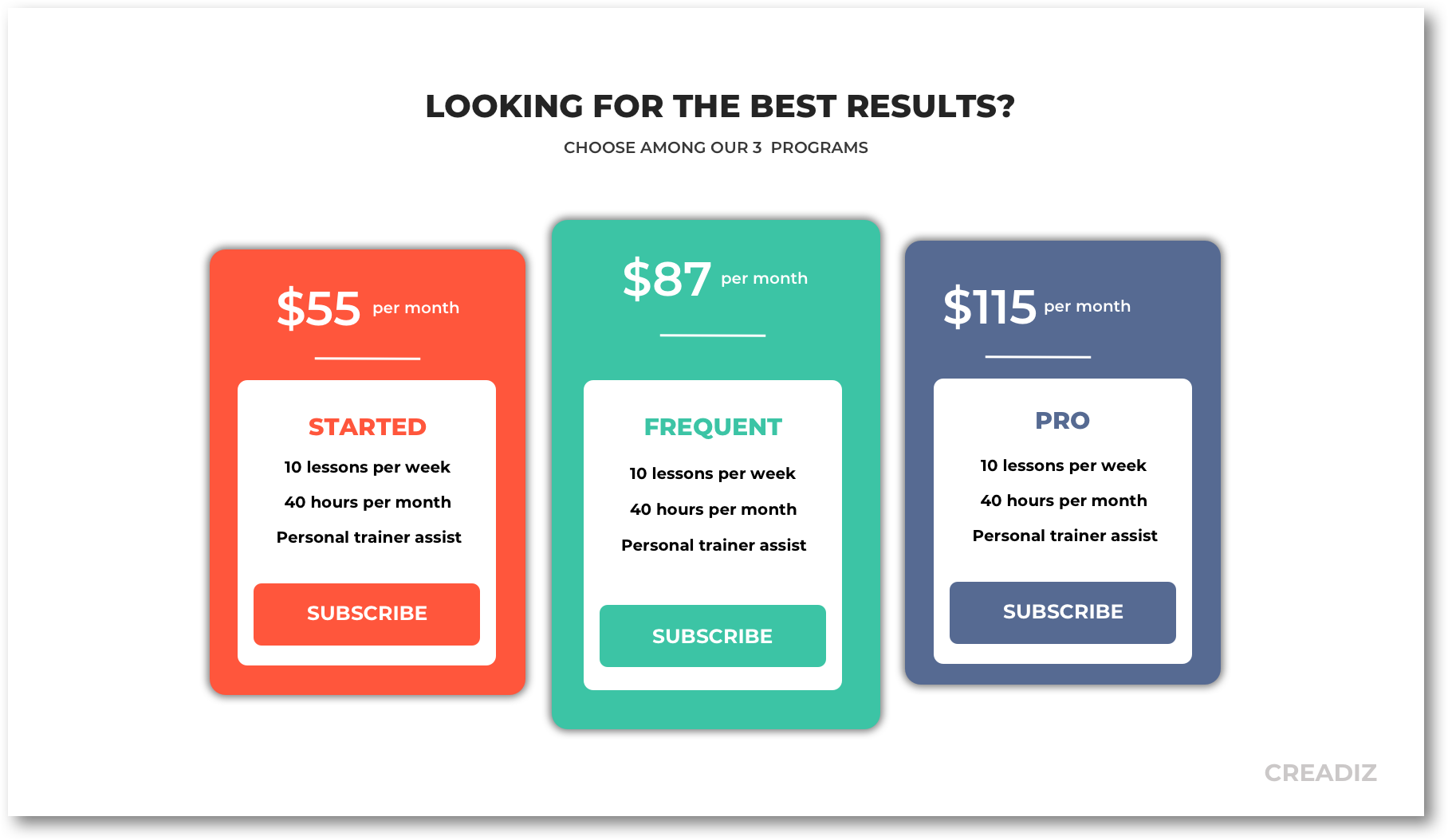 pricing table personal trainer