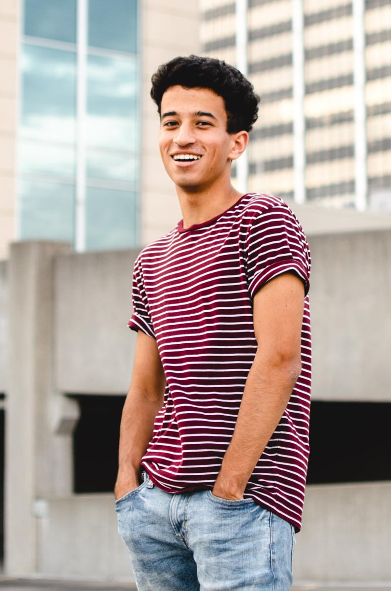 Male teenager smiling