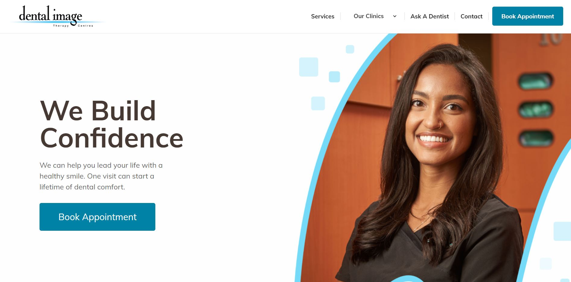 Screenshot of Dental Image Therapy Centre's previous website, it shows the smiling face of female dentist and portrait of dental assistant