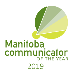 Manitoba Communicator of the Year logo, for the year 2019