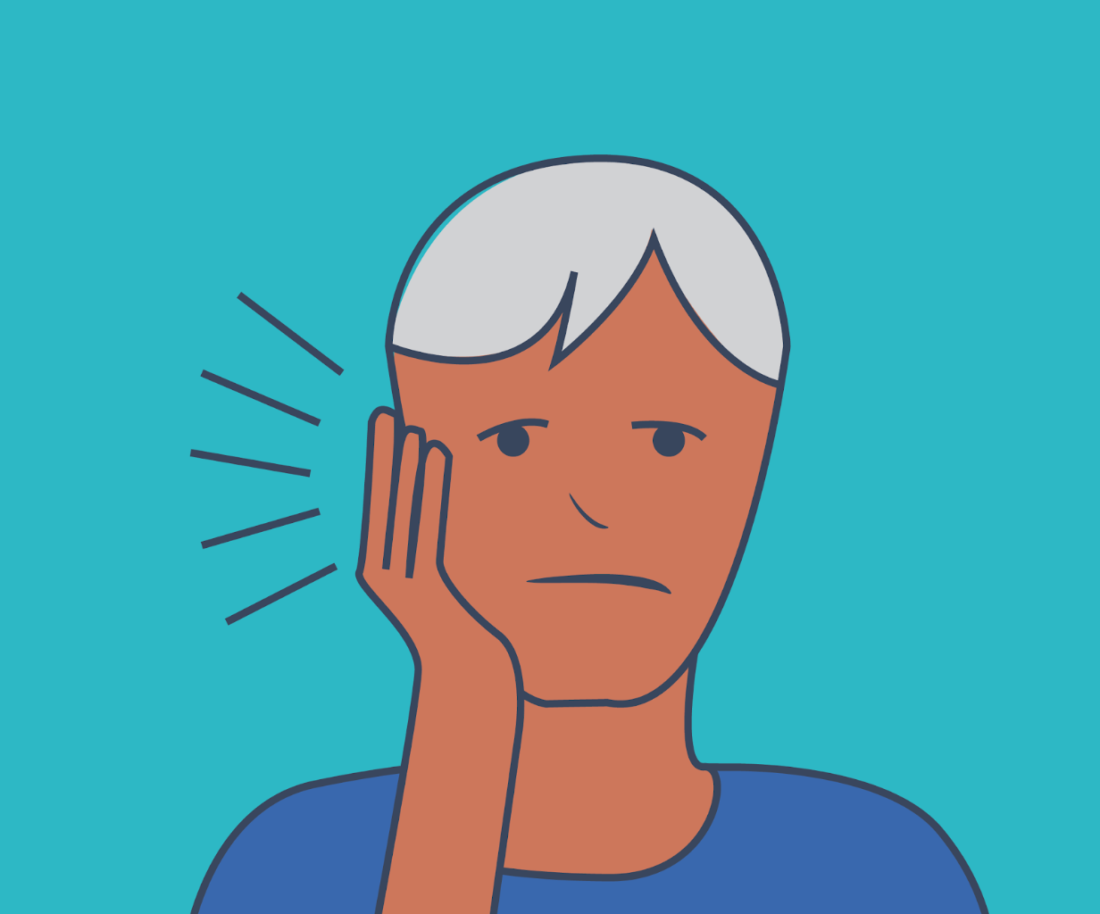 Graphic of person in pain holding their jaw