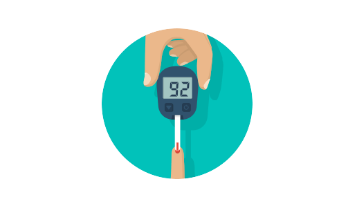 Graphic of an electric diabetes test and strip