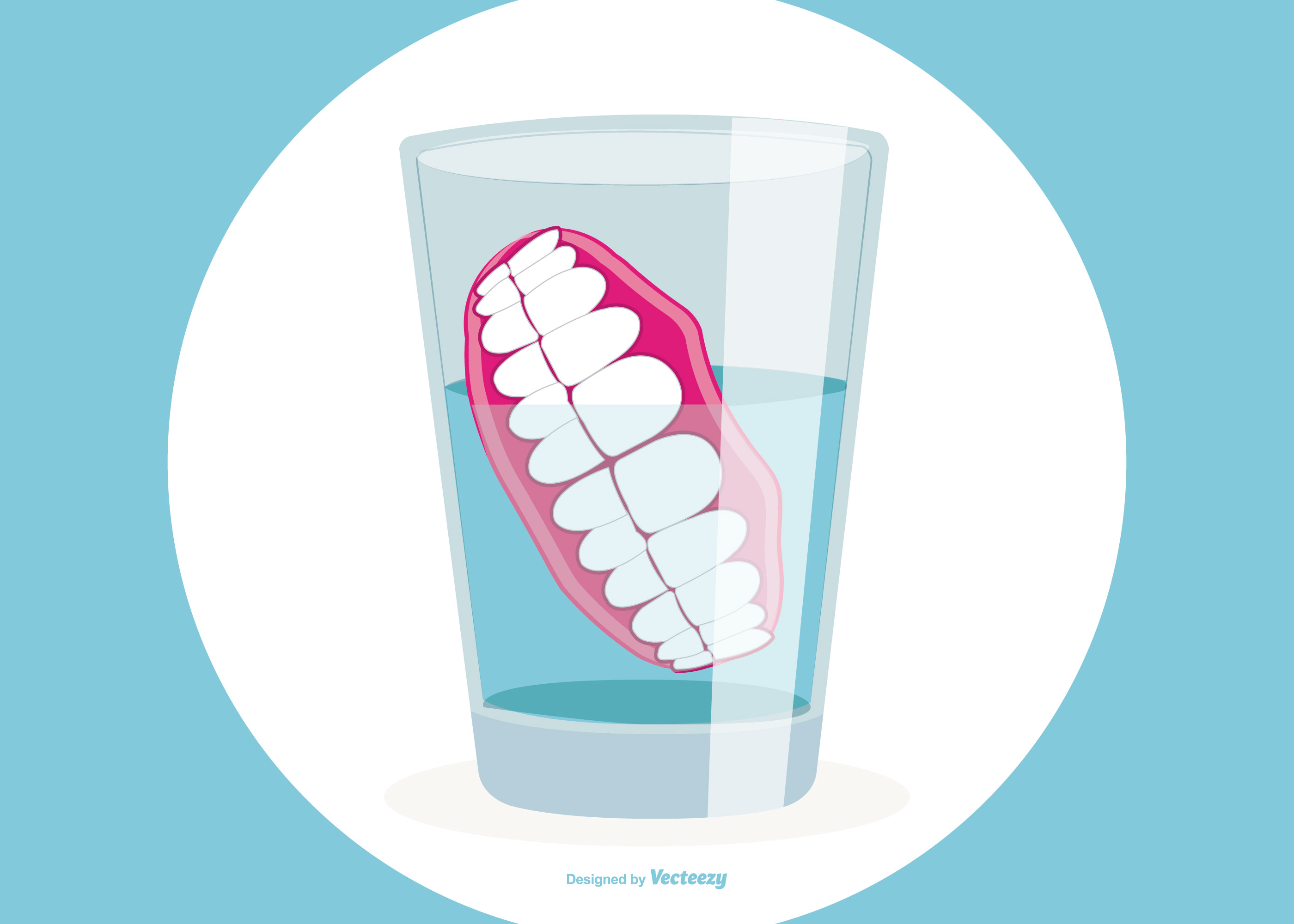 Graphic of dentures in a glass half full of water
