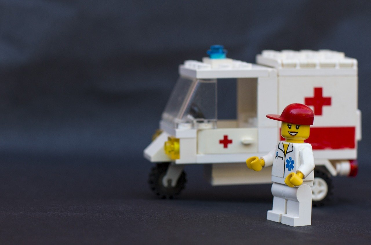 Lego ambulance and person