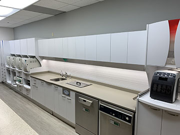 The sterilization area, showcasing the various equipment