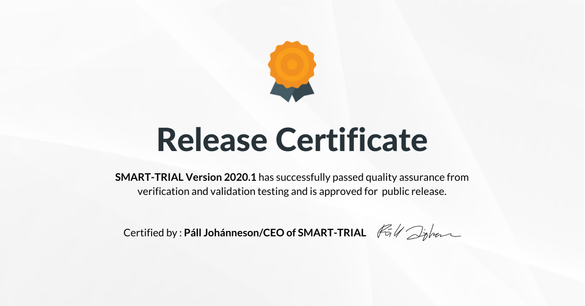 Download the SMART-TRIAL 2020.1 Release Certificate