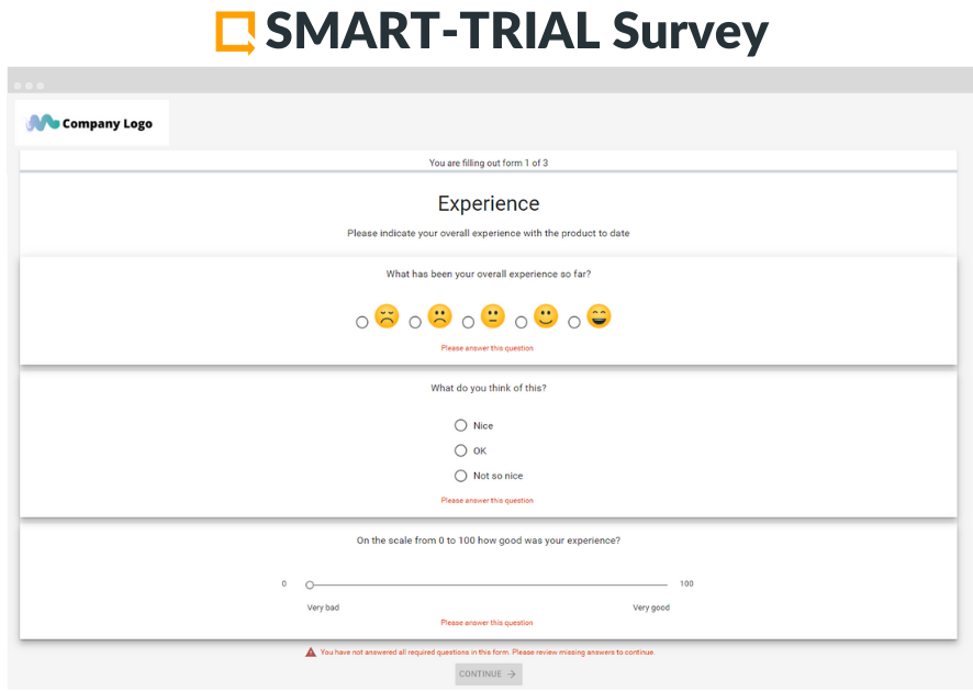 SMART-TRIALSurvey is specifically designed for data collection under MDRand is widely used for PMCFSurveys