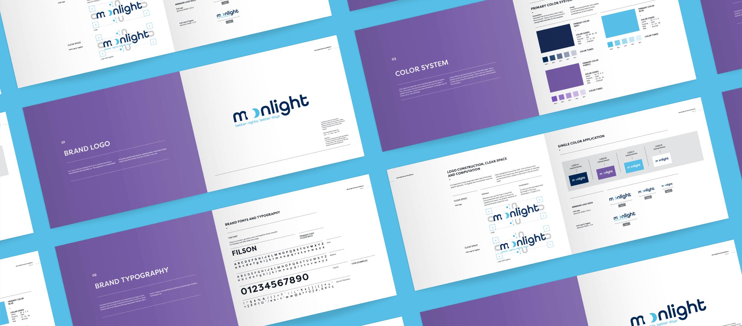 Moonlight's visual identity guidelines created by Fenix Strategic Design.