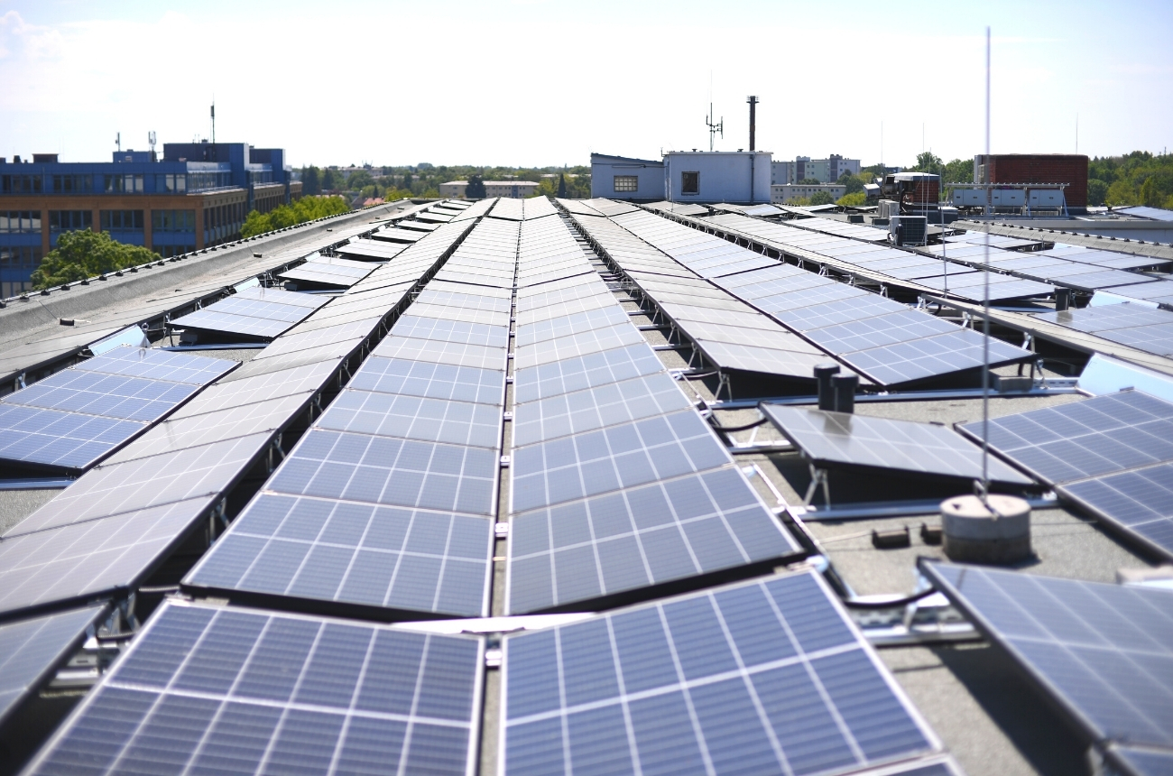 solar panels on a commercial building