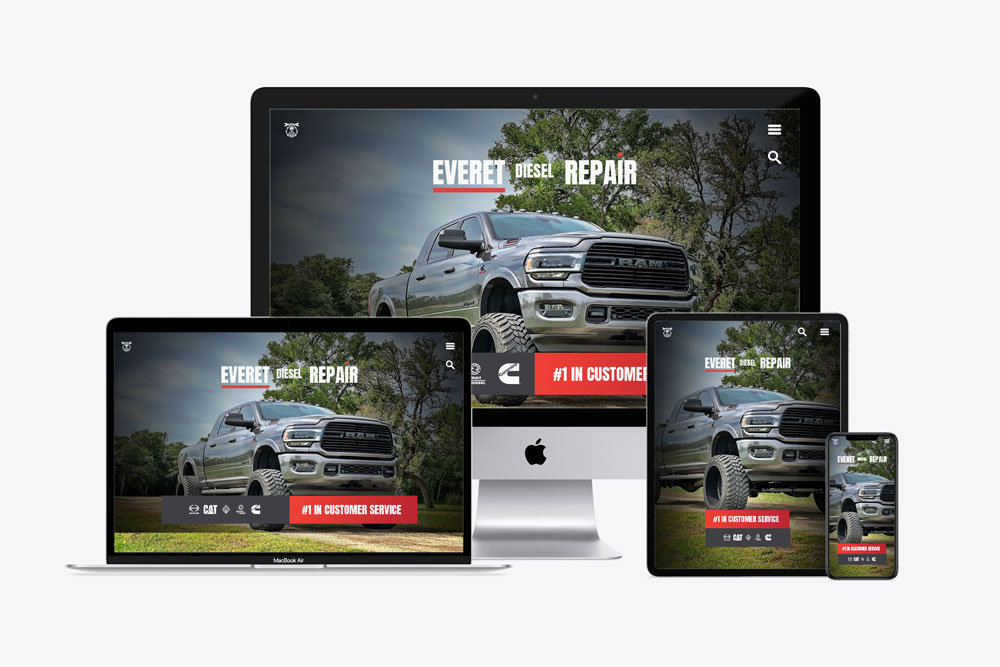 Diesel repair shop website shown on a variety of devices to showcase responsive design